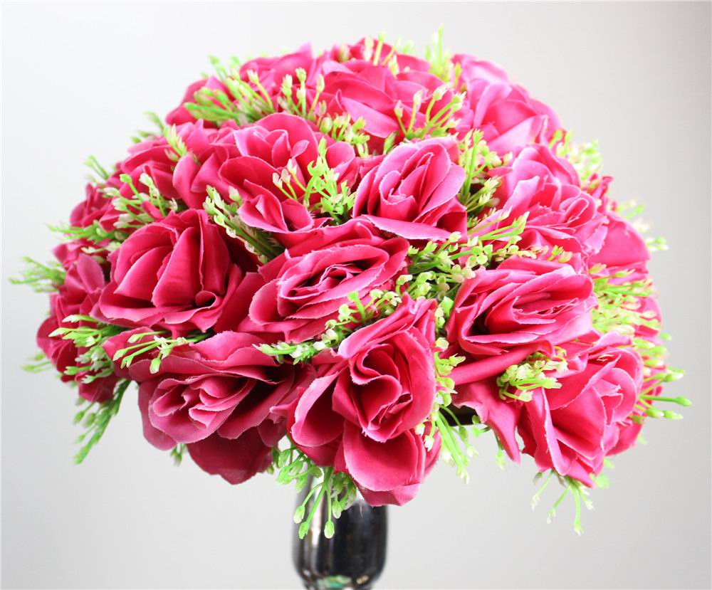 Online buy wholesale fuschia silk flowers from china fuschia silk plumfuschia silk rose flower ball 10pcs 15cm diameter kissing ball designs for wedding party dhlflorist Gallery