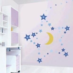 Fake Kawaii Removable Wallstickers Baby Room Decor Headboard Blue Star Moon Wall Stickers Princess