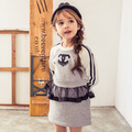 2015 nueva otoño invierno patchwork malla moda patrón de la letra niñas vestido largo de fiesta manga de los bebés muchacha del juego de vestido 2 ~ 7 age niños