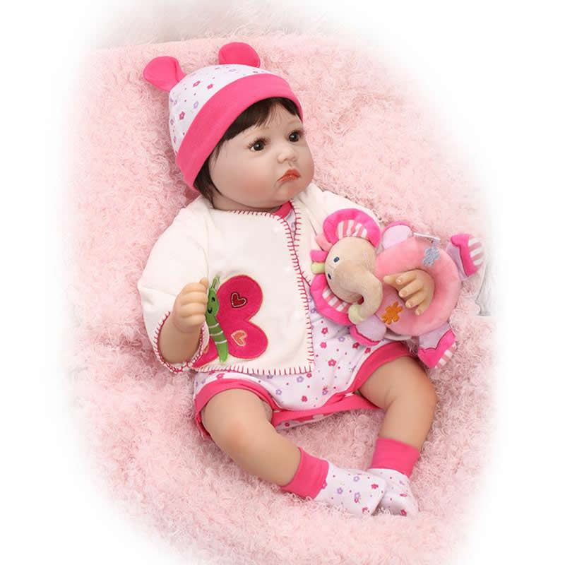 22 Inch Soft Silicone Realistic Reborn Babies Girl Doll Fashion Newborn Baby Dolls Handmade Lifelike Toy Kids Birthday Gift handmade soft bottom fashion tassels baby moccasin newborn babies shoes 18 colors pu leather prewalkers boots