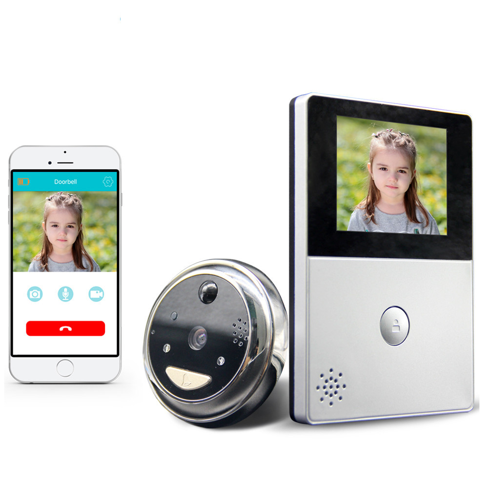 Cobell HD Batterie WiFi Sonnette De Stockage en Nuage 2.8 pouce Porte Judas PIR Nuit Vision Vidéo Interphone Soutien TF Carte