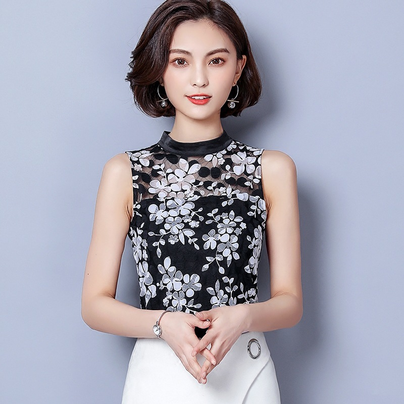 Summer Women Tank Plus Size Clothing Fashion Sleeveless White Black Floral Lace Shirt Elegant Slim Tops Bodycon Blusas Femininas
