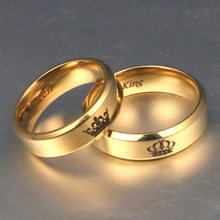 Gold colour King And Queen Stainless Steel Crown Couple Rings Gold Rings For Couples Lovers Love Promise Rings For Men Women(China)