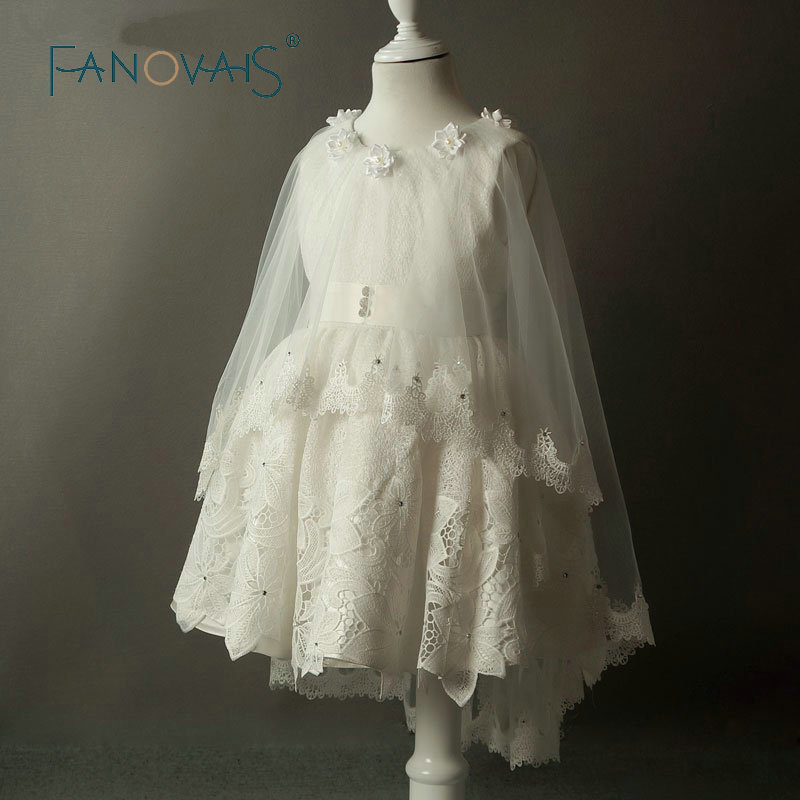 2019 Summer Vintage Flower Girl Dress Lace Kids Evening Gown For Party Wedding Birthday Girls pageant Dresses