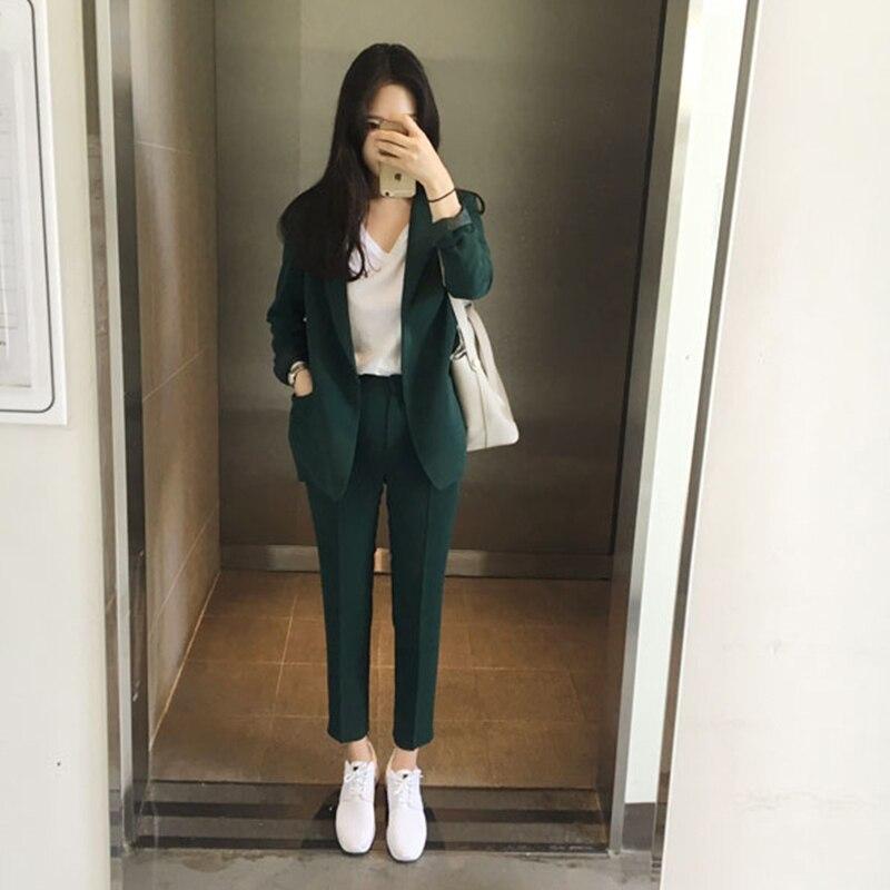 Autumn 2020 New Pure Color Jackets And Pants  Women's Suit Outerwear Shortpants Two-piece Suit Office Lady Set