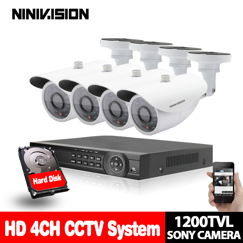 AHD 4 Channel DVR KIT Security sony 1200TVL CCTV Camera Kit Home Security 1080P DVR Recorder System video surveillance system 4 channel cctv dvr full d1 mini recorder rs485 monitor network detection security standalone recorder kit video surveillance