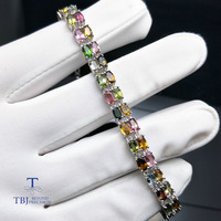 TBJ,9.5ct natural fancy color tourmaline bracelet in 925 sterling silver with gift box, simple gemstone jewelry for women