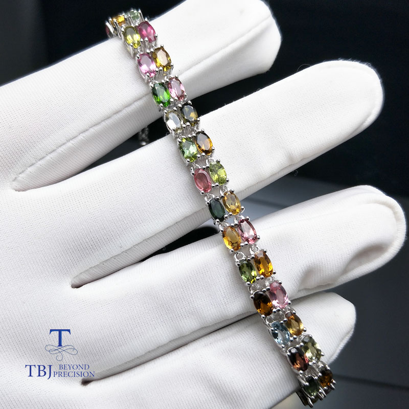 TBJ,9.5ct natural fancy color tourmaline bracelet in 925 sterling silver with gift box, simple gemstone jewelry for women gifted set 26pcs iron box gift tools in fancy and portable silver tone box