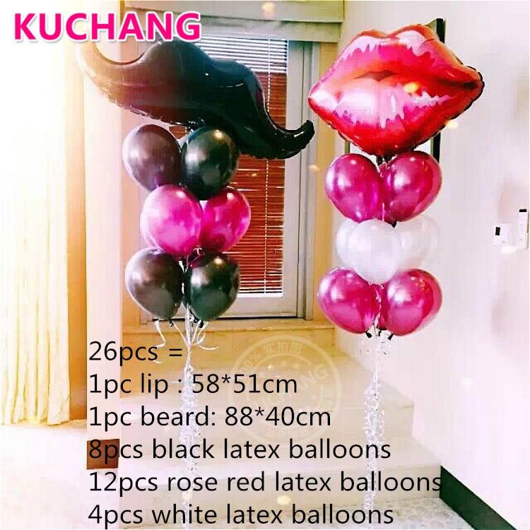 LOVE Lip Mustache Diamond Foil Balloons Wedding Party Decoration Party Balloons