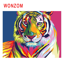 WONZOM Colorful Tiger Diy Painting By Numbers Abstract Animal Oil Cuadros Decoracion Acrylic Paint On Canvas Modern Art