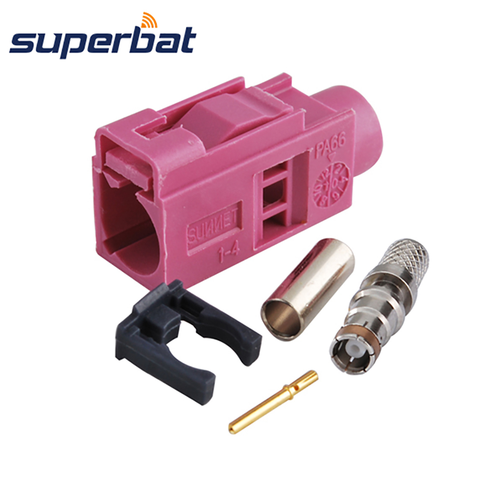 Superbat Fakra Code H Violet Crimp Female Jack Connector For Radio Controlled Keyless Heating