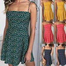 Polka Dot Print Sundress 2019 Strapless Sashes Tied Bow A-Line Dress Women Backless Summer Beach Dresses sexy mini vestido dress allover cartoon print bow tied dress