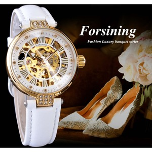 Image 3 - Forsining White Gold Mechanical Automatic Luxury Top Brand Lady Wrist Watch Skeleton Clock Women Leather Dress Age Girl Watches
