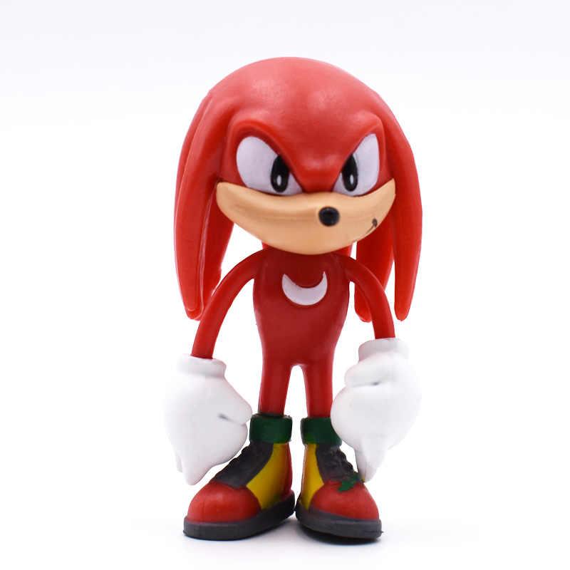 6 pçs/set Sonic 7 centímetros Figuras de Brinquedo Pvc Brinquedo Personagens Tails Sonic Sombra Figura Brinquedos Para Crianças Animais Brinquedos Conjunto presentes de natal