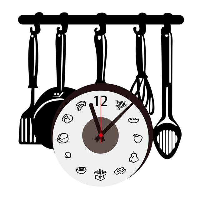 US $8.99 10% di SCONTO|Utensili da cucina Orologio Da Parete Adesivi Ultimo  Grande Creativo Orologio Da Parete Della Cucina Decorazione Creativo Fai ...