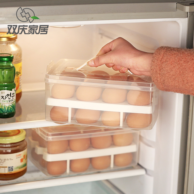 24 Grid Double Layer Plastic Egg Tray Refrigerator Egg Storage Box Egg Packaging Box Transparent Boxes