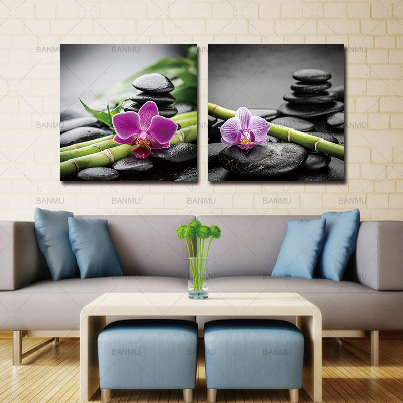 canvas painting wall art print picture decoration for living room 2 panels Spa Black Stone with Bamboo Flower Photography