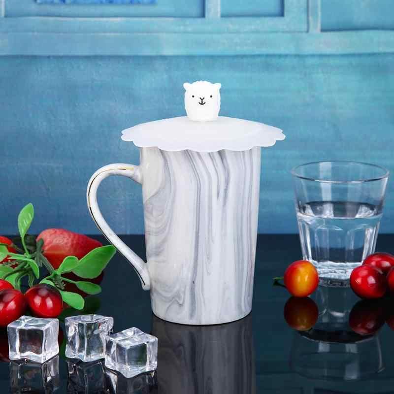 ซิลิโคน LeakProof ฝาปิดถ้วยทนความร้อนหมี Snowman ปิดผนึกห้องครัวอุปกรณ์เสริมชาถ้วยซีลหมวกฝาถ้วย