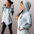 2016 Новая Мода Женщины Толстовки Повседневная Кофты С Капюшоном Письма Печати Топы Молния Нерегулярные Топ C802