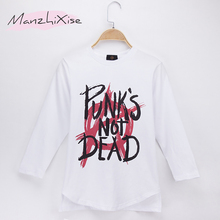 2019 Kids Clothes Children T-shirts Full Punk s Not Dead 100% Cotton Child Boys Long T Shirt Baby Girls Top Unisex Free Shipping