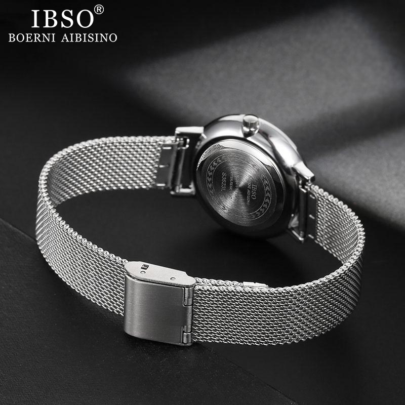 IBSO Women Quartz Watch Set Crystal Design Bracelet Necklace Watch Sets Female Jewelry Set Fashion Silver Set Watch Lady's Gift 4
