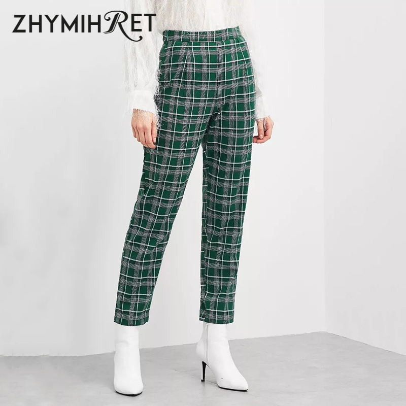 Image 4 - ZHYMIHRET Casual Plaid High Waist Yellow Straigh Pants Women Summer Pantalon Femme Loose Side Zipper Trousers Spodnie Damskie-in Pants & Capris from Women's Clothing