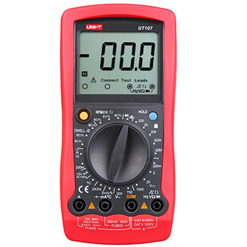 UNI-T Multimetro UT107 LCD Automotive Handheld Tester AC/DC voltmetro Tester Multi-Meter con SOSTA, RPM multimetro unità