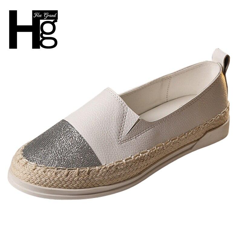 HEE GRAN Glitter Slip On Pisos Mocasines 2017 Verano Pescador zapatos de Mujer d