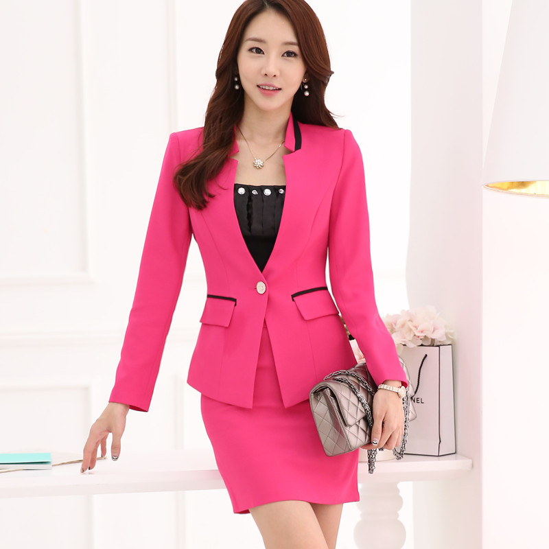 Formal Pink Blazer Women Skirt Suits Work Wear Sets Slim
