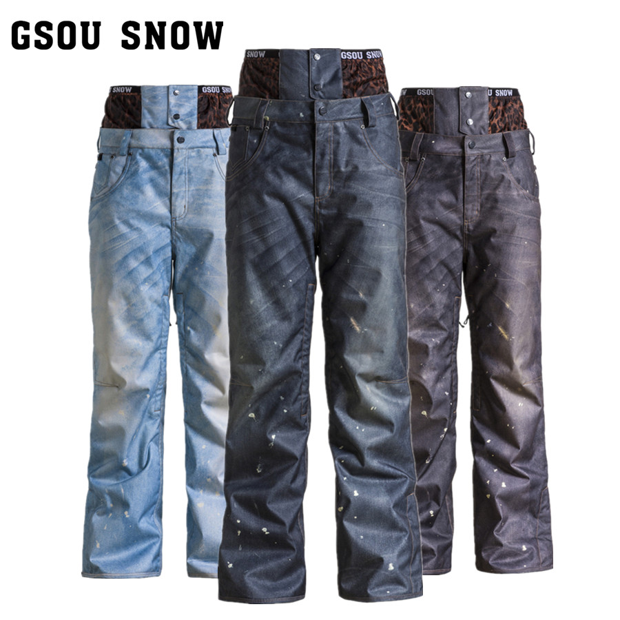 2017 gsou snow skiing snowboard pants denim ski pants male winter pants waterproof pantalon ski. Black Bedroom Furniture Sets. Home Design Ideas