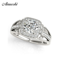 AINUOSHI 925 Sterling Silver Women Wedding Engagement Rings White Gold Color Round Cut 1ct Halo Bridal Rings Anniversary Jewelry