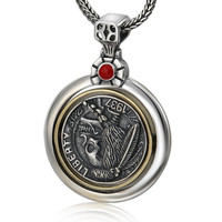 Sterling Silver 925 Skull Medallion Pendant For Necklace Men Indian Chief Silver Coin Rotable Black Thai Silver Jewelry Gifts