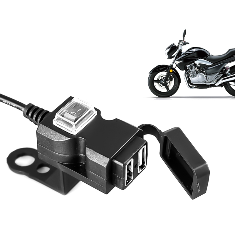 Dual USB Port Waterproof Motorbike Motorcycle Handlebar Charger Adapter Power Supply Socket for Phone GPS MP4 12v 4 2a dual usb car charger power adapter socket motorcycle usb charger waterproof led voltmeter power adapter for phone