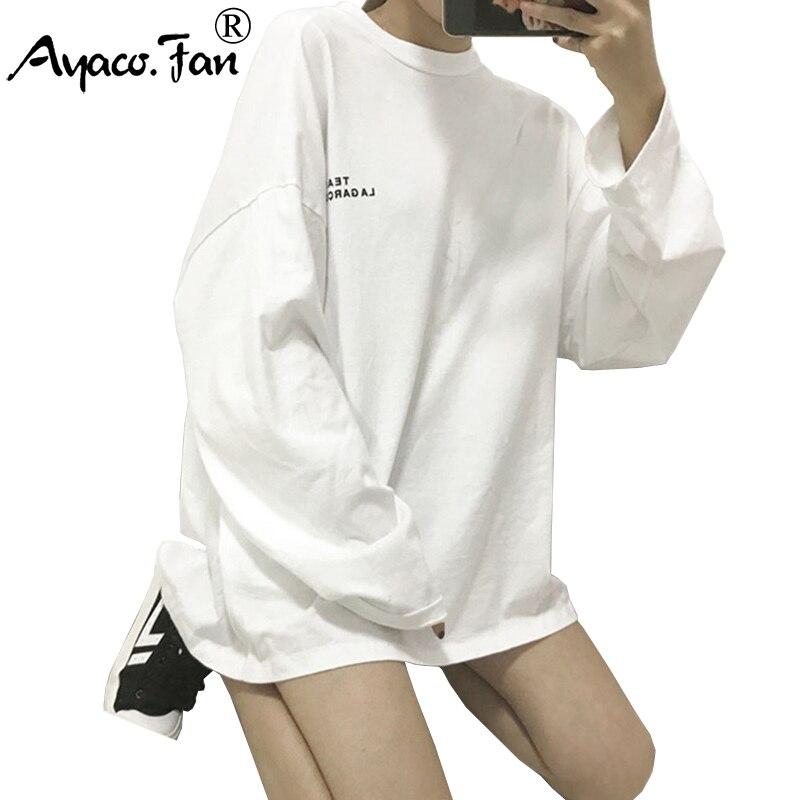 Surdimensionné femmes Top T-Shirts été 2019 nouveau manches complètes imprimé Hip Hop T-shirt BF Style Streetwear décontracté montre de sport Tee grande taille