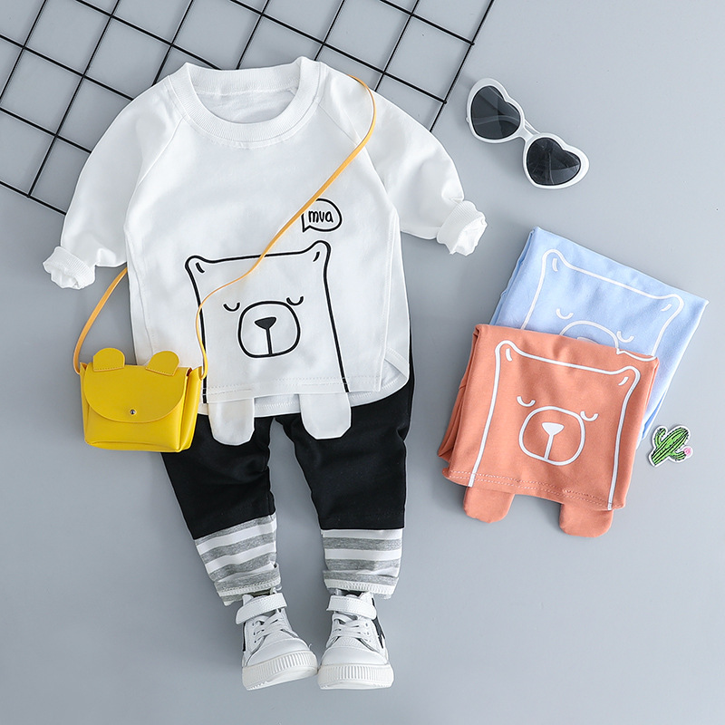 HYLKIDHUOSE Infant Clothing Sets Autumn Baby Girl Boy Clothes Suits Casual Style Cartoon Bear T Shirt Pants Kid Child Clothes retail 2016 summer infant clothes baby girl clothing sets cotton baby boy cartoon cars letters print t shirts striped pants
