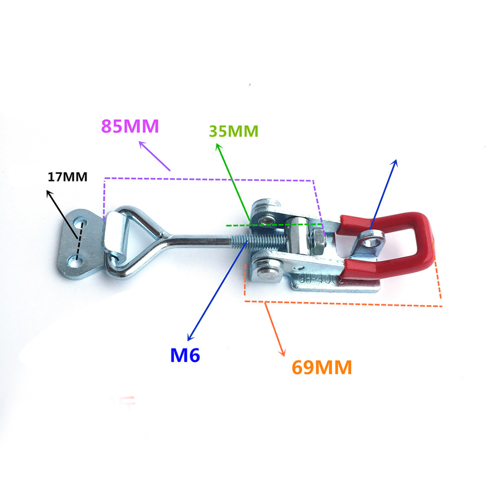 New 1 PCS GH-4002 Quick Toggle Clamp High Quality Metal Toggle Clip 200Kg 440 Lbs Holding Latch Hand Tool T0.2