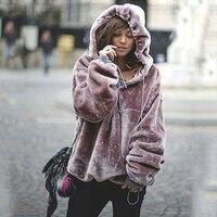 Kış Sıcak Kadife Kapşonlu Hoodies ceket kadın moda Katı Renk Gevşek Kazaklar Alt Elastik Hoody Kazak mor ceket