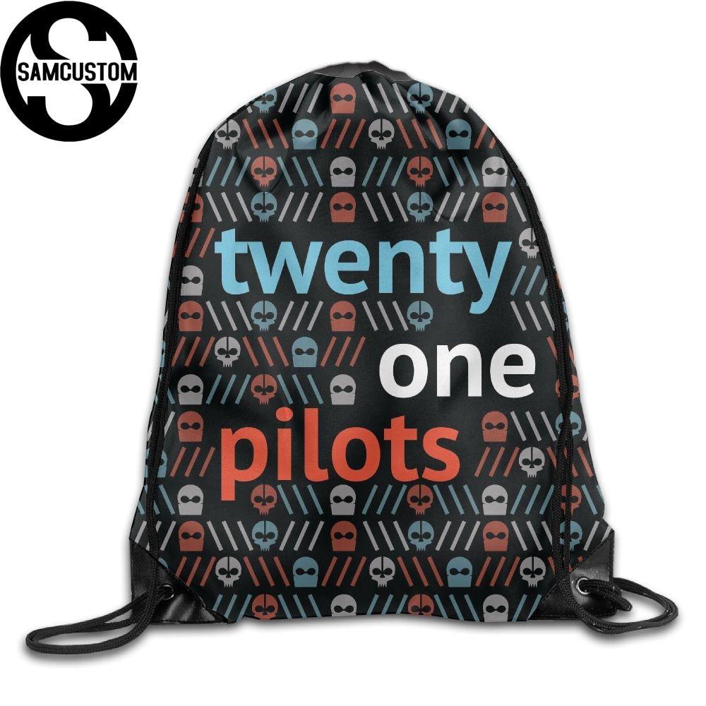 Samcustom Twenty One Pilots Skull 3d Shoulders Bag Fabric Backpack Men And Women Port Drawstring Travel Shoes Dust Storage Bags