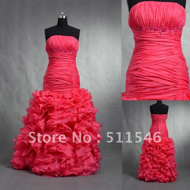 Strapless Ruffling Organza bubble Skirt Red Evening Dress CZE009