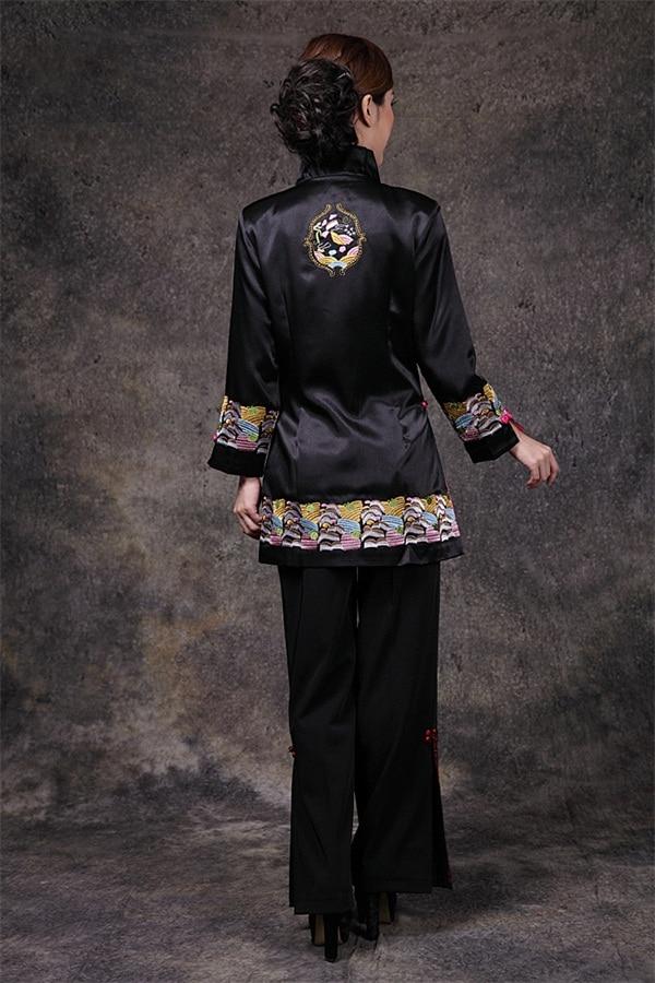 blanc De Classique Poitrine Costume Style À Femmes Satin Taille Col 3xl Chinois Unique V Longues Noir Broderie Manteau Manches Veste Tang rouge Noir S q84Eg4w