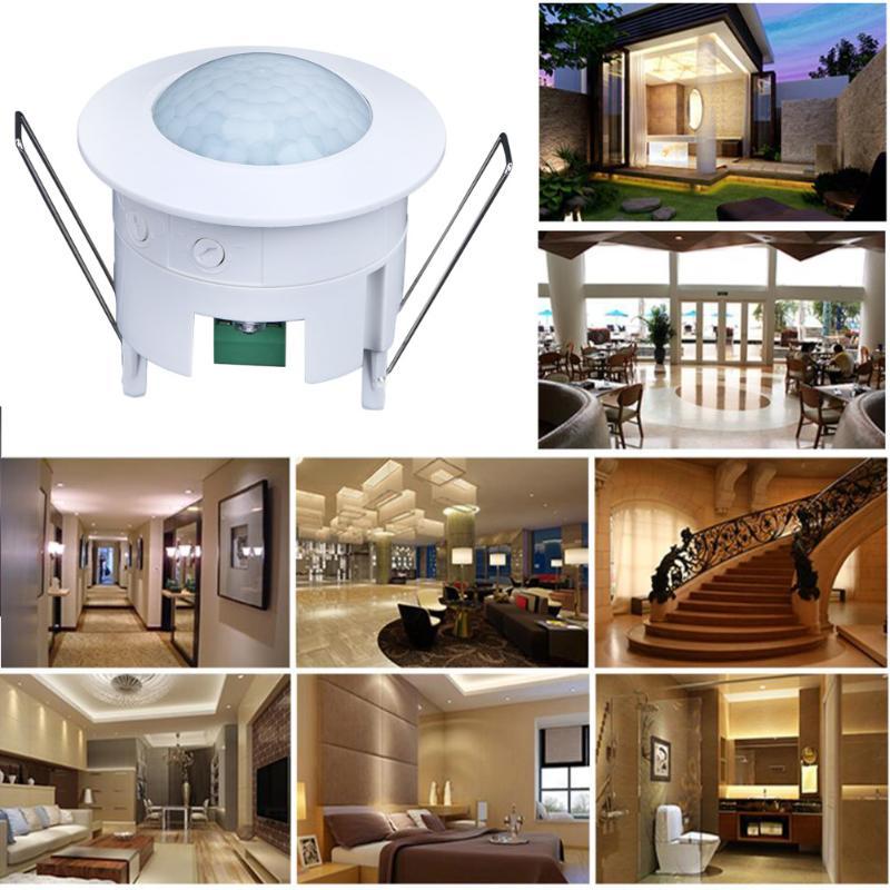 360 grados PIR sensor de movimiento luz del rayo infrarrojo inteligente LED noche interruptor techo para pasillo interior lámparas Baño