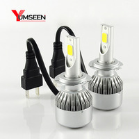YUMSEEN COB Chip 72W Auto Car H7 LED Headlight Kit Bulbs 7600Lm 6000K Conversion Kit 12V/24V front light for audi bmw warranty