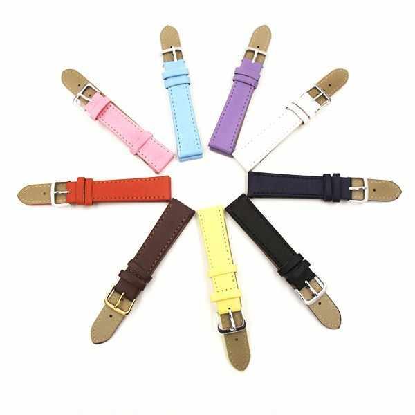 10 renkler kayış izle deri saatler bant 12mm 14mm 16mm 18mm 20mm 22mm 24mm kadın erkek saat kayışı düz renk saat kayışı
