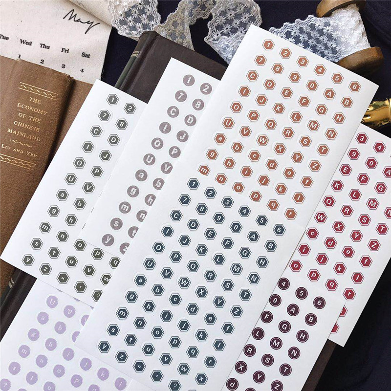 4pcs Universal Typewriter Series Bullet Journal Stickers Number Digital Alphabet Stickers Vintage Planner Accessories Stationery