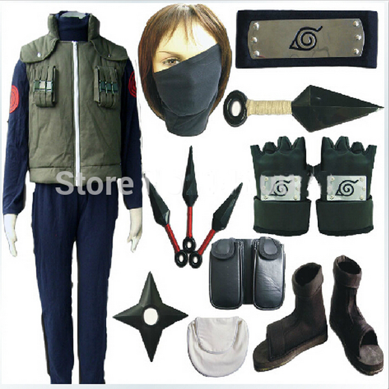 Hot Naruto Hatake Kakashi cosplay costume full set include shoes kunai headband leg waist bag mask