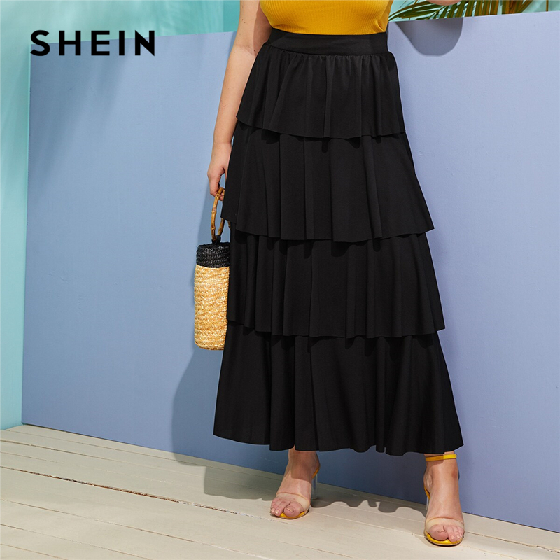 SHEIN Plus Size Black Layered Flounce Skirts Womens 2019 Spring Summer Autumn A Line Shift Solid Big Size Boho Maxi Skirt