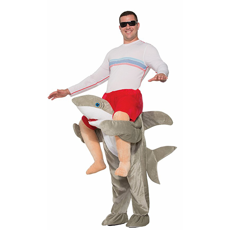 Halloween Ride On Piggy Back Spalla Adulto Costume della mascotte Dello Squalo Unisex Fancy Dress Shark Deluxe Ride-on Costume Onesies Adutts