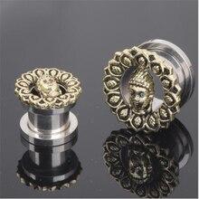 Hot Sale Stainless Steel Buddha Head Ear Plugs Tunnels Flesh Expansions Piercing Gauges Ears Expanders Women Men Body Jewelry