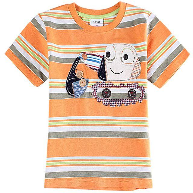 Camisetas para niños bobo choses embroma la ropa a rayas T-shirt de dibujos animados bordado excavadora novedad camisetas nova niños de la ropa