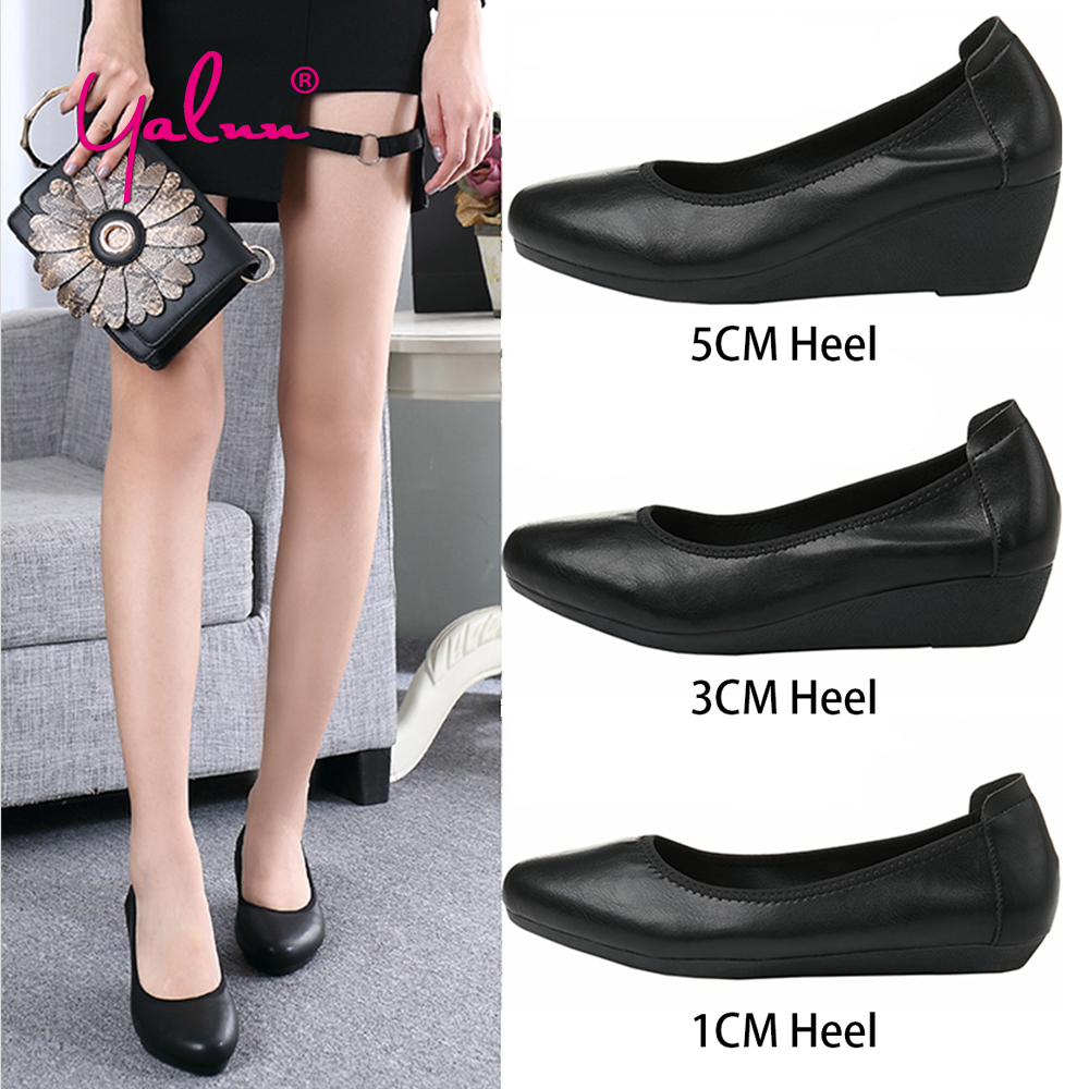 Comfortable Women Shoes Summer 1CM/3CM/5CM Wedges High Heels Leather Soft Shoes Beige Black Casual Office Shoes Women Slip On bandai 1 100 mg assault purples gundam model page href page 5